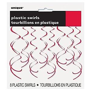 Unique Party Paquete de 8 Decoraciones Colgantes en Espiral de plástico, Color Rojo, 66 cm (63275)