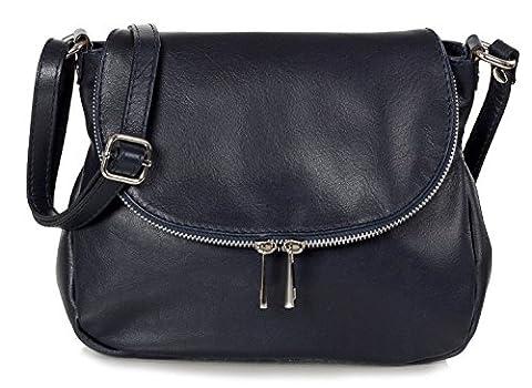 Taschenloft | Kleine Damen Umhängetasche 24x20x9cm| Leder-Handtasche für Frauen aus 100% Nappa Rinds-Leder | Schulter-Tasche oder Crossover-Bag | Blau