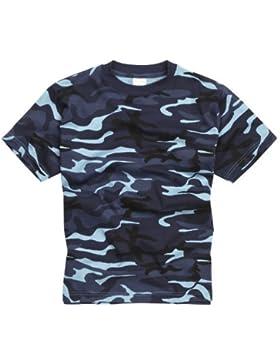 Camiseta 100% Algodón estilo militar. Manga corta. Camuflaje de Medianoche. Talla XS