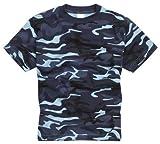 Camiseta 100% Algodón estilo militar. Manga corta. Camuflaje de Medianoche. Talla XL