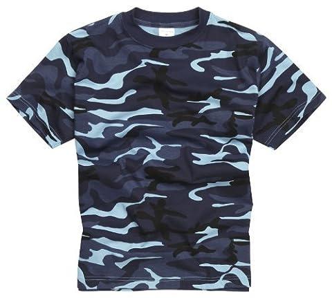 100% Cotton Military Style T-shirt - Midinght Blue Camouflage (Militari T-shirt)