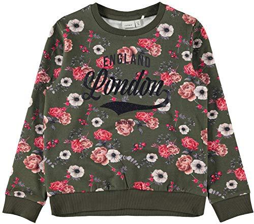 NAME IT Kinder Mädchen Sweatshirt Gr.122-164 grün Khaki Blumen Pullover neu!, Größe:134/140