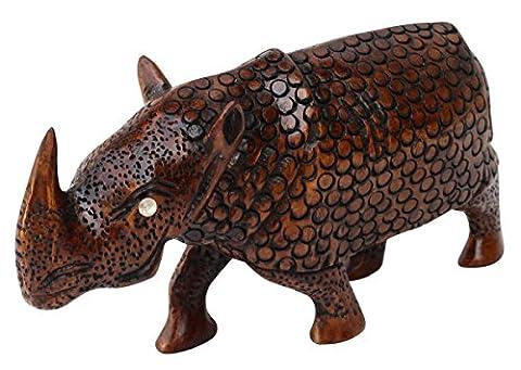 Souvnear en bois Rhinocéros Sculpture–sculpté à la main mignon Rhino figurine/Statue–Les amateurs de chats–Home Decor Accessoires