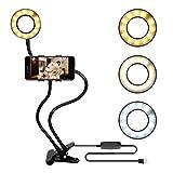 bidafun LED Strahler Flash Selfie Licht Ring Kamera Foto Video Licht Lampe Handy (Ringlicht mit Standfuß Schwarz)