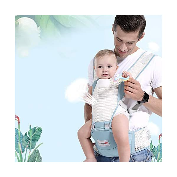 LITIAN Four Seasons Universal Baby Carrier Waist Stool Front Hug Multifunctional Baby Seat Summer Breathable light grey  ★ Double-layer high-elastic mesh design, cool and breathable, breathable strap. ★ Protect the bones from stress. Stressed on the shoulders, waist, abdomen, three points of balanced force, prevent Mommy spine strain, easy and labor-saving. ★ Enclosed soft skin-friendly bib, avoid rubbing the baby's chin and neck, reducing harmful bacteria. 8