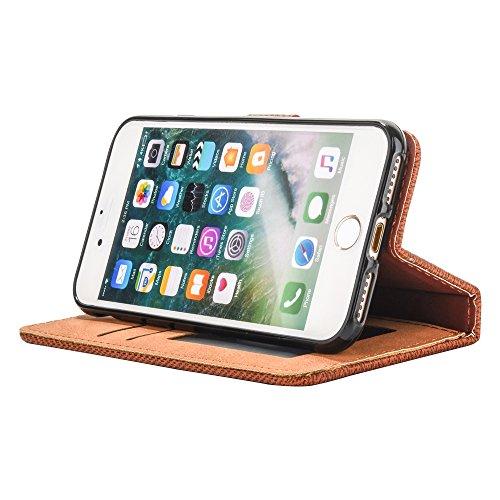 Mo-Beauty® Hülle For Apple iPhone 7 Plus [5,5 Zoll],iPhone 7 Plus Lederhülle Brieftasche Handy Hülle Case [Denim-Serie-Mappen-Kasten] Leder Hülle Premium Handy Gürtel Tasche Schutzhülle Hülle Case Cov Braun