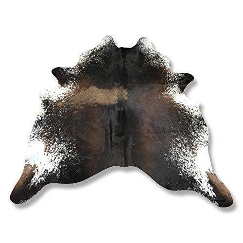 Kuhfell Teppich aus Südamerika naturbelassen dunkel braun weiß gesprenkelt L235 x B205cm