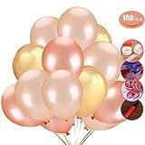 Jyoker 100 Stücke Luftballon Set für Hochzeit Geburtstag Party Dekoration mit 3 Farben(Champagner Gold,Rosa Gold,Gold)