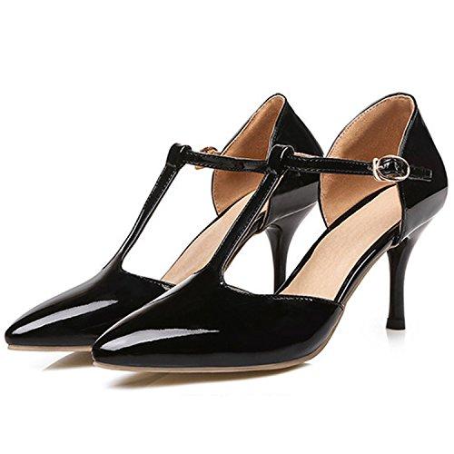 Azbro Women's Pointed Toe T-Strap Stiletto Heels Pumps Golden