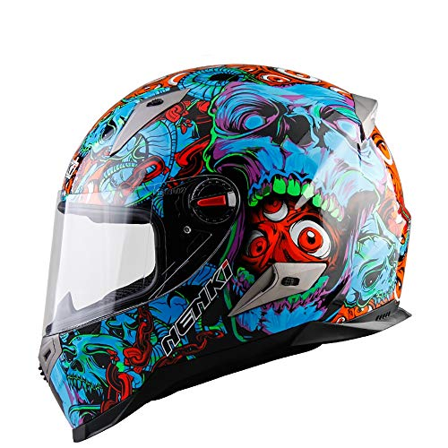 ZHYY Casco Moto da Motociclista Full Face D.O.T & ECE 22.05 Approvato Casco da Cross Casco da Pedale da Discesa off-Road Racing Ghost Head Blue Red Style (M, L, XL, XXL),L