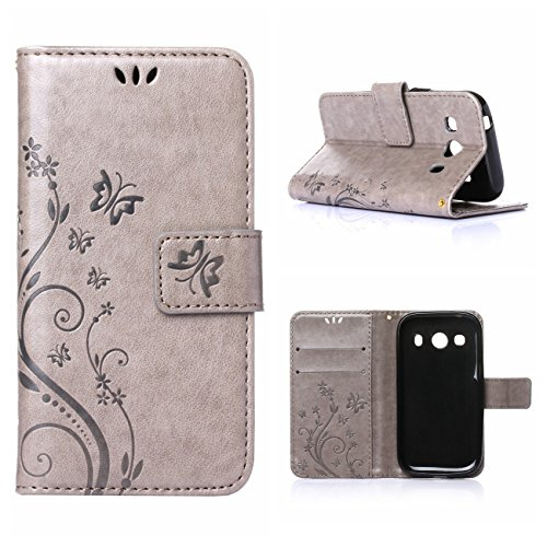 MOONCASE Galaxy Ace 4 Custodia in pelle Protettiva Flip Cover per Samsung Galaxy Ace 4 SM-G357 SM-G357FZ Fiore Snap-on Magnetico Bookstyle TPU Case Grigio