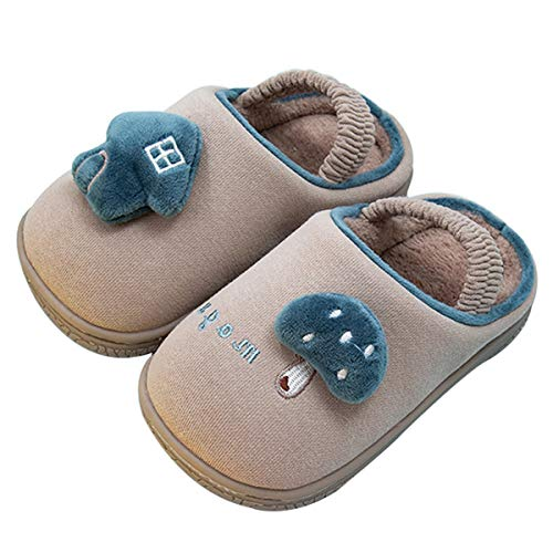 SROTER Kids Cute Winter Warm Plush Slippers Anti-Slip Shoes Boys Girls Home Shoes Indoor Comfort Plush Fleece Lined Slipper