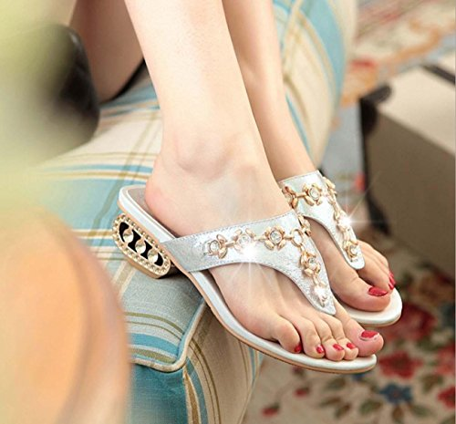 NobS Donne Open Toe Pantofole Medioevo tacco medio Large Size 40-43 Thongs flip-flop Gold