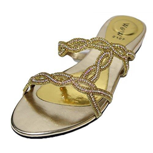 Wear & Walk UK , Damen Sandalen gold/green/silver/turquoise Gold