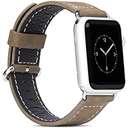 For Apple Watch Band, Fulltime(TM) HOCO Genuine Leather Strap Classic Buckle Adapter for Apple Watch 38 mm