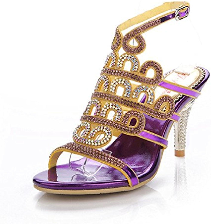 XIE Sandalias de Tacón Alto Finas con los Zapatos de Las Mujeres de Diamantes de Imitación Sandalias de Las Señoras...