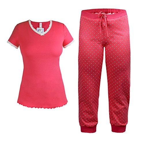 Sieht Aus Wie Baby-strampelanzug (Cybele Damen Pyjama Set kurzer Arm Shirt + 7/8 Hose Oberteil und Sweathose Gr. 38 Schlafanzug Hausanzug)