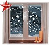 das-label Wiederverwendbare winterliche Fensterbilder weiß | Sterne in 3 Größen | Weihnachten | Fensterdeko | konturgetanzt ohne Transparenten Hintergrund (Sterne)