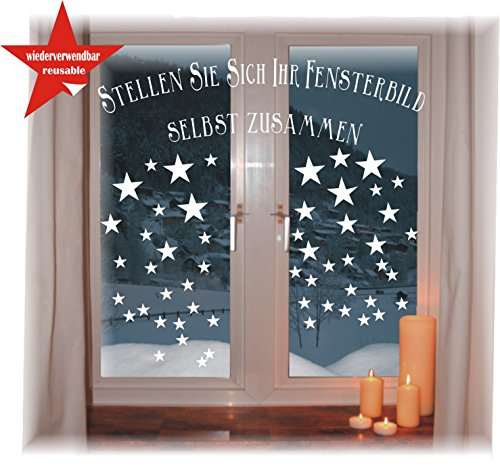 WIEDERVERWENDBARE winterliche Fensterbilder weiß | Sterne in 3 Größen | Weihnachten | Fensterdeko | konturgetanzt ohne transparenten Hintergrund (Sterne)