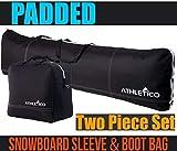 Athletico gepolstert, 2-teilig Snowboard-Kofferraum-Tasche | Kombi-&-Snowboard | 13bis 165cm und Stiefel, Größe: 1gepolstert und Snowboard Tasche mit Kofferraum-Tasche, Schwarz