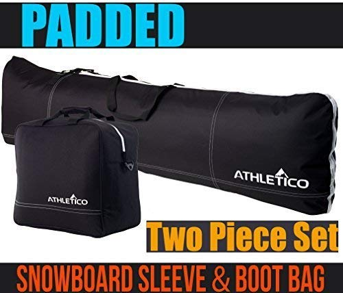 Athletico gepolstert, 2-teilig Snowboard-Kofferraum-Tasche   Kombi-&-Snowboard   13bis 165cm und Stiefel, Größe: 1gepolstert und Snowboard Tasche mit Kofferraum-Tasche, Schwarz