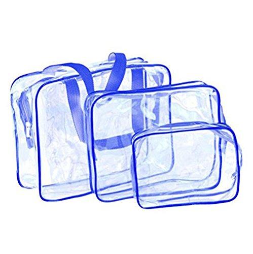 Ruikey 3 pièces Mode grande capacité Transparent PVC imperméable à l'eau de lavage sac de maquillage pochette voyage kit