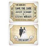 Personalisierte Save the Date Karten zur Hochzeit (40 Stück) - Vintage Brautpaar in Weiß