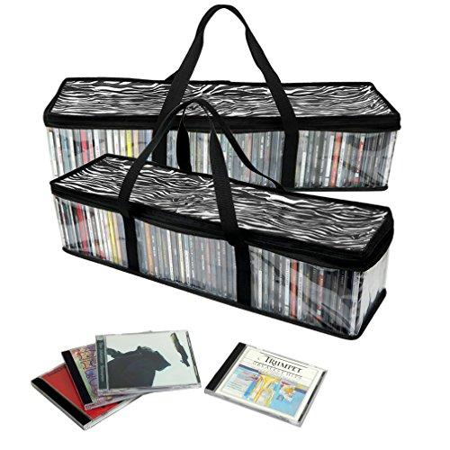 evelots-lote-de-2-bolsas-portatiles-para-almacenamiento-de-cds-estampado-de-cebra-para110-cds