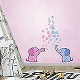 30 Teile Elefanten Seifenblasen Wandtattoo Set - Kinderzimmer Zoo Tiere Wandsticker - Baby Tapete Rauhfaser Sticker zum Kleben, Wandaufkleber Kleinkind Wanddeko - Wandfolie, Jungs, Mädchen, Blau Pink