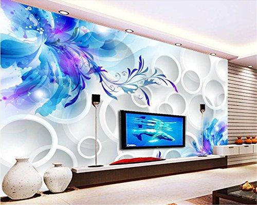 Mznm Benutzerdefinierte Fototapete Malerei blaue Lilie Wandbilder Wohnzimmer Fernseher Sofa Hintergrund 3d wallpaper Moderne Wohnkultur Zimmer 400 X 280 cm - Ozean-blau-korn