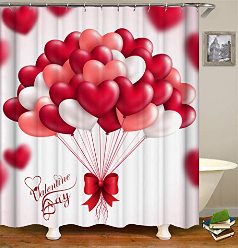 SLN Liebe Dekoration. Weißer Hintergrund. Viele Weiße, Rote Und Rosafarbene Ballone. Liebes-Herz-Geformte Ballone. Duschvorhang. Wasserdicht. Mildewproof Einfach Zu Säubern. 180X180Cm. (Rotes Herz Geformte Ballone)