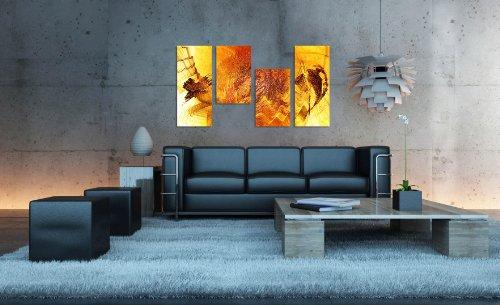 Augenblicke Wandbilder Gute Laune Bild sonnig gelb – 130x70cm 4 teiliges Keilrahmenbild (30×70+30×50+30×50+30x70cm) abstraktes Wandbild mehrteilig Gemälde-Stil handgemalte Optik Vintage