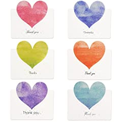 Idea Regalo - Kuuqa 36 Pezzi Cuore Grazie a Carte con 36 Buste e 36 Adesivi Carte a Forma di Cuore per San Valentino (6 Disegni / Colori)