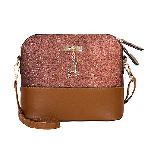 Handtasche Damen Btruely Mädchen Messenger Crossbody Vintage Tasche Damen Kleines Shell Leder Handtasche (T Braun) -