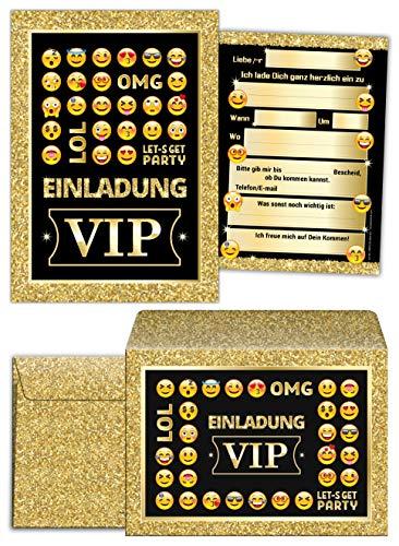 12 Einladungskarten incl. 12 Umschläge zum Geburtstag VIP Erwachsene Kinder Mädchen Jungen Jungs Geburtstagseinladungen Kindergeburtstag Einladung
