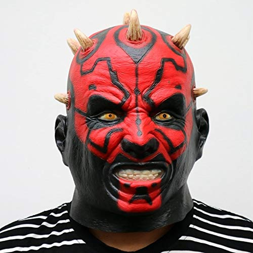 tar Wars Film Darth Maul Maske Voller Kopf Scary Horror Halloween Kopf Maske for Kostüm Cosplay Party Ball Kostüm ()