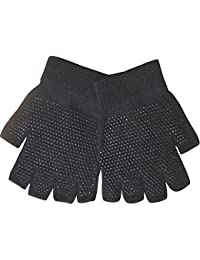 Youths Black Super Soft Magic Gripper Fingerless Thermal Winter Gloves