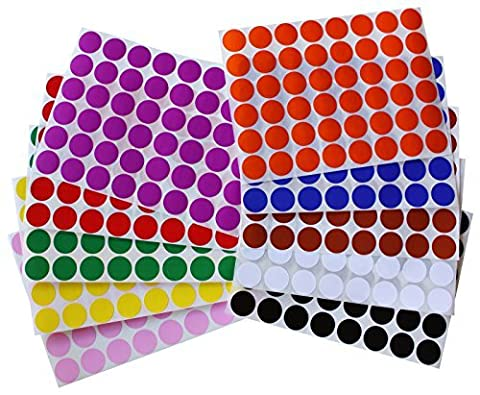 Color Coding Labels ~ 3/4 diameter (11/16 - 17mm) Round Dot Stickers 10 colors combination - Black, White, Red, Green, Yellow, Pink, Red, Orange, Brown and Blue - by Royal Green