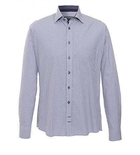 Hatico - Regular Fit - Uomo Camicia A Maniche Lunghe Con Colletto Kent, in blu a righe (3023 Valance 224) Blau (15) 40