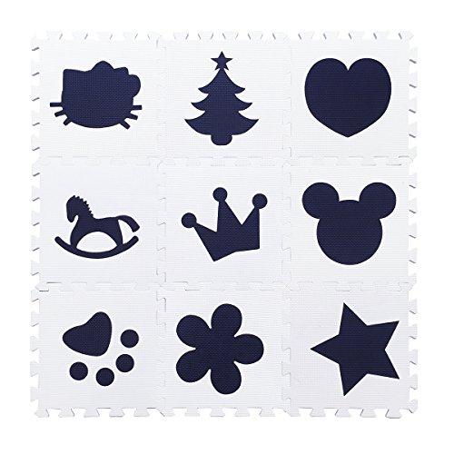 H Cadeau Bunt Puzzlematte Schaumstoff Puzzle Matte Kinder Spielteppich Spielmatte Baby krabbeln Boden Schlafzimmer Yoga Turnhalle 30*30cm 9 teilig (Weiß Cartoon)