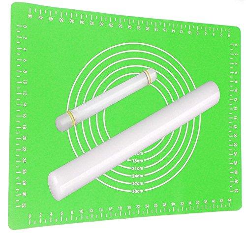 Ausrollstab 50 + 22cm mit Backmatte Silikon Grün | Antihaft - Hitzebeständig | Teigroller mit Teigmatte 60x40cm Set