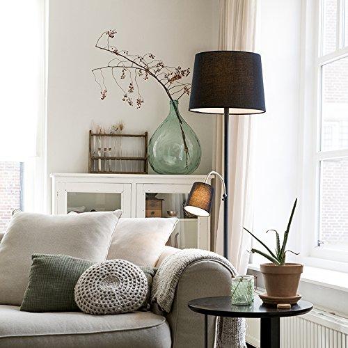 QAZQA Classique/Antique Lampadaire/Lampe de sol/Lampe sur Pied/Luminaire/Lumiere/Éclairage classique noir avec abat-jour noir et lumière de lecture - Retro Tissu/Acier Noir Autres E27 Max.