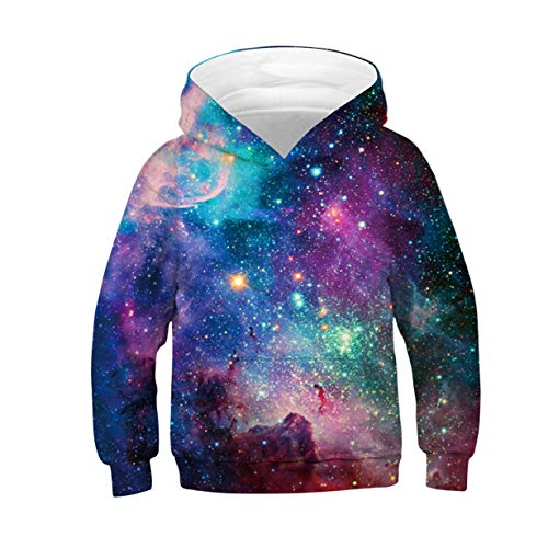 3D Galaxy Pullover Sweatshirt Kids Printed Pullover Hooded Hoodies Tshirt with Pockets for Boys Girls Autumn