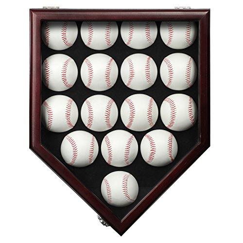 16 Baseball Display Case Gehäuse mit abschließba UV Schutz, Case Halter Shadow Box Wand Schrank-UV-Mahagoni,Vitrinen Schrank Shadow Box