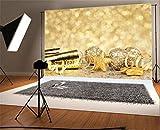 YongFoto 2,2x1,5m Foto Hintergrund Weihnachten Vinyl Frohes Jahr Goldene Bokeh-Halos Licht Glitter Pailletten Bälle Sterne Weihnachten Fotografie Hintergrund Foto Leinwand Kinder Fotostudio