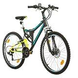 Fahrrad MTB Mountainbike Fully Full Suspension 26 Zoll Bikesport PARALLAX Shimano 18 Gang (Schwarz Neon Grün)