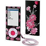 MCA Cherry B Etui fleuri en PVC pour iPod nano 5G Noir/Rose