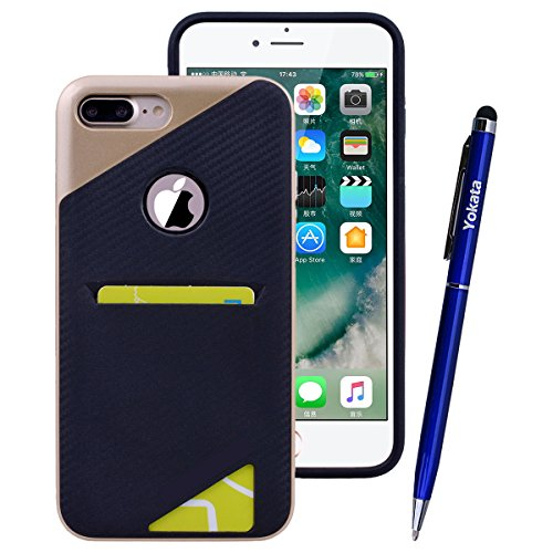Yokata iPhone 7 Hülle Schwarz Soft Flexible Silikon Clear TPU Backcover + PC Plastik Harte Bumper Hardcase Dual Layer Schutzhülle Ultra Dünn Schlank Handyhülle Premium Kratzfest mit Kartenfach Schutz  Gold