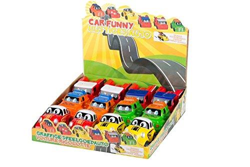 1 x Lustiges Auto Kunststoff ca. 10x5x6 cm für Kleinkinder, mit Schwungrad, 1 aus 6 verschiedene Varianten - Schwungrad-auto