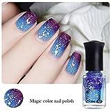 Born Pretty 1 Flasche 6 ml Thermal Nagellack Farbe verändert Polish Peel Off Polnisch Dunkles Lila zu Blau